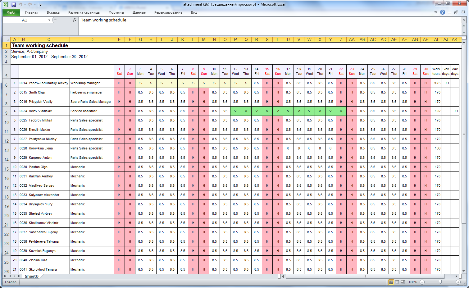 Teamwork Working Time Schedule Exported To Excel